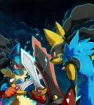 2014 aegislash ambiguous_gender blue_fur doublade dual_wielding fight fur holding_object holding_weapon lazyamphy lucario mega_evolution mega_lucario melee_weapon nintendo pokémon red_eyes shiny_pokémon smile sparks sweat sword video_games weapon yellow_fur  Rating: Safe Score: 11 User: Rad_Dudesman Date: January 20, 2016