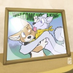 anthro bandanna blue_eyes canine corgi dog duo english_text fox_(housepets!) housepets! hug husky king_(housepets!) licking male mammal neckerchief rick_griffin scarf text tongue tongue_out webcomic