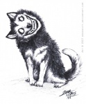 2013 ambiguous_gender black_nose canine creepy creepypasta dog dredshift feral grin headtilt husky looking_at_viewer nightmare_fuel no_pupils plain_background sketch smile smile.dog solo teeth   Rating: Safe  Score: 9  User: Munkelzahn  Date: November 24, 2013