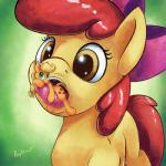 2016 apple_bloom_(mlp) applejack_(mlp) blonde_hair bow cutie_mark duo earth_pony equine eyelashes female feral friendship_is_magic green_eyes hair horse long_hair macro mammal micro my_little_pony open_mouth pony ponythroat red_hair saliva sibling sisters teeth tongue tongue_out vore  Rating: Safe Score: 7 User: lemongrab Date: April 07, 2016