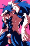 """abs anthro balls biceps big_muscles black_nose blue_fur blue_hair canine censored darkstalkers fangs flaccid fur hair humanoid_penis jon_talbain male mammal muscles nude pecs penis pink_background plain_background pose presenting sheath solo standing teeth unknown_artist vein video_games were werewolf white_fur wolf yellow_eyes  Rating: Explicit Score: 4 User: drafan5 Date: May 12, 2013"""""""