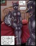 2014 angrboda bed breasts canine comic cuff dickgirl english_text female green_eyes intersex leash mammal nipple_piercing nipples orange_eyes penis piercing rubber text wolf   Rating: Explicit  Score: 2  User: Arkham_Horror  Date: March 30, 2015