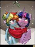 blush captainpudgemuffin collaboration couple duo equine female friendship_is_magic glo-in-the-dark horn mammal mistletoe my_little_pony pegasus plant rainbow_dash_(mlp) scarf snow snowing twilight_sparkle_(mlp) winged_unicorn wings  Rating: Safe Score: 20 User: 2DUK Date: June 15, 2015