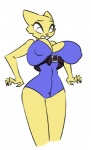 anthro belt big_breasts breasts cat clothing embarrassed feline female katia_managan khajiit mammal prequel pubes solo the_elder_scrolls thick_thighs unknown_artist video_games wide_hips   Rating: Questionable  Score: 8  User: ShimaSoul  Date: January 19, 2015