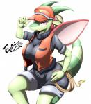 2016 absurd_res anthro anthrofied big_breasts breasts clothing dragon english_text female flygon green_scales hand_on_hip hat hi_res jacket looking_at_viewer nintendo open_mouth pokémon pokémorph purple_eyes red_scales rope scales scalie shorts signature simple_background solo tailzkim text tongue video_games white_background wings  Rating: Safe Score: 10 User: GameManiac Date: January 29, 2016