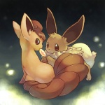 ambiguous_gender canine cute duo eevee feral fire_stone fox fuchsia_(artist) looking_at_viewer mammal multiple_tails night nintendo pokémon restricted_palette video_games vulpix  Rating: Safe Score: 4 User: Caroway Date: April 20, 2010