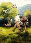 2018 ambiguous_gender blue_eyes canine day detailed_background digital_media_(artwork) dog duo feral grass kenket mammal marowak nintendo open_mouth outside paws pokémon pokémon_(species) rockruff sky smile teeth tongue tree video_games