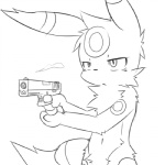 """2012 ambiguous_gender animated anthro black_and_white eeveelution fire firing glock gun handgun holding holding_weapon male monochrome nintendo pistol pokémon pvt._keron ranged_weapon shy solo umbreon video_games weapon  Rating: Safe Score: 14 User: Boliva Date: March 27, 2012"""""""