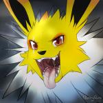 ambiguous_gender brown_eyes cute eeveelution feral fur jolteon looking_at_viewer nintendo nummynumz open_mouth pokémon saliva solo teeth tongue tongue_out video_games white_fur yellow_fur   Rating: Questionable  Score: 6  User: DeltaFlame  Date: April 17, 2015