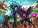 bat_pony black_fur blue_eyes blue_hair blush broken_horn changeling cloud cutie_mark day detailed_background equine eye_contact fan_character female female/female feral fur hair hi_res hooves horn kissing mammal my_little_pony outside purple_hair sky surprise vavacung winged_unicorn wings  Rating: Safe Score: 3 User: slyroon Date: April 27, 2016