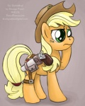 applejack_(mlp) cowboy_hat cutie_mark earth_pony equine female feral freckles friendship_is_magic green_eyes gun hat holster horse mammal my_little_pony pistol pony ranged_weapon sketch smudge_proof solo the_clopping_dead weapon   Rating: Safe  Score: 5  User: Smudge_Proof  Date: October 29, 2014