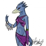 anthro anthrofied avian beak bird blue_body breasts clothed clothing duck eccentric_birdie female gem golduck midriff navel nintendo pokémon pokémon_(species) pokémorph red_eyes simple_background skimpy small_breasts solo video_games white_background