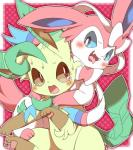 blush duo eeveelution embarrassed evil_anaunara fangs leafeon nintendo pokémon simple_background sylveon tears tongue tongue_out video_gamesRating: SafeScore: 11User: MaleLeafeonDate: September 19, 2017