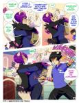 2014 anthro bag bk black_hair cat clothed clothing comic crossdressing english_text feline girly hair hug jang male male/male mammal purple_eyes purple_hair sora_(tokifuji) text tiger tokifuji white_hair
