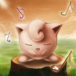ambiguous_gender big_ears eyes_closed hair_tuft jigglypuff kid-ippo musical_note nintendo open_mouth outside pokémon singing sky solo standing tree_stump video_games waddling_head