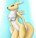 abstract_background anthro black_nose black_sclera blue_eyes breasts canine claws digimon digital_media_(artwork) female fox fur hi_res mammal mane nude paintchaser renamon ribs shoulder_blade_spikes simple_background solo white_fur yellow_fur  Rating: Questionable Score: 14 User: danzel Date: October 30, 2012