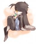 anthro black_eyes blush cat feline food klonoa klonoa_(series) male mammal nightgown popsicle shaolin_bones sitting solo summer_wars sweat yellow_sclera  Rating: Safe Score: 7 User: Shariest Date: May 24, 2015
