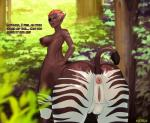anus big_breasts breasts butt centaur dark_skin dialogue doctorproxy english_text equine equine_taur erect_nipples eye_patch eyewear female hair hi_res humanoid looking_back mammal nipples pink_hair presenting presenting_hindquarters pussy raised_tail solo stripes taur teats text zebra  Rating: Explicit Score: 21 User: Pasiphaë Date: December 18, 2015