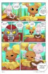 anthro buneary cart comic flirting hi_res masterploxy melee_weapon nintendo pawniard pokemon_trainer_8 pokémon roleplay sword tyrogue video_games weapon