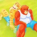2014 anthro bear biceps body_markings brown_fur brown_nose bulge chubby clothing duo eyes_closed fangs feline frown fur grin grizzly_bear juuichi_mikazuki male mammal markings morenatsu muscles open_mouth overweight pecs pink_nose pose rei-zuka shirt shorts sitting smile stripes sweat tank_top teeth tiger tongue topless torahiko_ooshima yellow_fur   Rating: Safe  Score: 2  User: rix_traier  Date: December 21, 2013