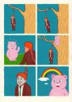 anthro bear clothed clothing cloud comic death hanging happy human humor joan_cornella knot male mammal noose outside rainbow smile suicide suit tree what   Rating: Questionable  Score: 12  User: FuzzyWuff  Date: October 22, 2013