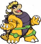 <3 anthro blackgyro bowser claws dio_brando horn jojo's_bizarre_adventure knee_pads koopa looking_aside male mario_bros nintendo open_mouth reptile scalie sharp_teeth shell simple_background sketch solo spiked_shell spikes standing teeth tongue video_games white_background