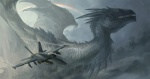 aircraft airplane ambiguous_gender cloud cool_colors dragon feral fighter_jet flying gargantuan jet military navy rainbow sandara scalie size_difference sky solo wings yellow_eyes   Rating: Safe  Score: 37  User: SnowWolf  Date: August 02, 2011