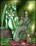 2004 anthro bald bra breasts claws clothed clothing dinosaur dragon duo english_text feather feet female foot_focus green_eyes green_hair green_scales hair horn male markie plant reptile robe scalie scroll sitting size_difference slit_pupils text toe_claws underwear wings   Rating: Safe  Score: -1  User: GameManiac  Date: April 12, 2015