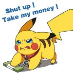 2015 3_toes 5_fingers all_fours back_markings blue_eyes blush collar digital_drawing_(artwork) digital_media_(artwork) dipstick_ears english_text fur markings meme money nintendo nude pikachu pokémon pokémon_(species) reaction_image red_cheeks shut_up_and_take_my_money simple_background solo text toes tomato-chibi video_games white_background yellow_fur