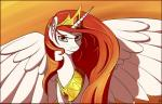 2013 crown equine female friendship_is_magic gold hair horn looking_at_viewer mammal my_little_pony necklace orange_theme princess_celestia_(mlp) red_hair solo tlatophat warm_colors winged_unicorn wings yellow_eyes   Rating: Safe  Score: 8  User: 2DUK  Date: February 02, 2014
