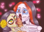 black_hair bone crossover cum cum_in_mouth cum_inside cum_on_face cum_on_penis cum_on_tongue fellatio female flower group hair hi_res human la_muerte licking lips looking_at_viewer male mammal monster_high oral orange_eyes penis plant red_eyes sex skeleton skelita_calaveras the_book_of_life tongue tongue_out trollkid  Rating: Explicit Score: 1 User: Nuji Date: December 17, 2015