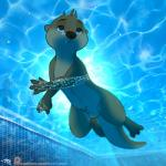 animal_genitalia balls blue_eyes brown_fur bubble fur letodoesart male mammal mustelid navel nude otter sheath solo underwater water webbed_hands