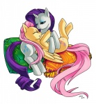 2012 blue_eyes couple cutie_mark duo equine eyes_closed eyeshadow female female/female feral fluttershy_(mlp) friendship_is_magic fur hair half-closed_eyes hi_res horn katiramoon lying makeup mammal my_little_pony on_back pegasus pillow pink_hair plain_background purple_hair rarity_(mlp) shaded smile unicorn white_background white_fur wings yellow_fur   Rating: Safe  Score: 4  User: Rainbow_Dash  Date: July 15, 2012