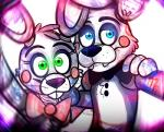 animatronic bear blue_eyes bow_tie buckteeth duo fangs five_nights_at_freddy's five_nights_at_freddy's_2 green_eyes lagomorph machine male mammal mechanical rabbit robot toy_bonnie_(fnaf) toy_freddy_(fnaf)   Rating: Safe  Score: 2  User: Vallizo  Date: March 15, 2015