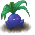 a-1626 ambiguous_gender blush cool_colors flora_fauna looking_at_viewer nintendo oddish plant pokémon red_eyes simple_background sitting smile solo video_games waddling_head white_background