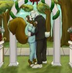 adrian_skunk archway barefoot bear black_fur boreas brown_fur cane ceremony evan eyes_closed eyewear flower fur glasses kissing larger_male male male/male mammal outside park plant polar_bear public rodent size_difference smaller_male southern_fox_squirrel squirrel suit tree wedding white_fur  Rating: Safe Score: 1 User: Lancer_Buck Date: September 21, 2015