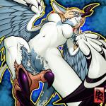 2013 abstract_background anthro avian blue_feathers breasts eyelashes feathers female hair harpy horn long_ears lumi nipples nude pink_hair presenting presenting_pussy pussy reabault red_eyes white_feathers wings  Rating: Explicit Score: 7 User: Reabault Date: November 30, 2015