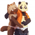 bear blush chubby clothing crotch_grab fondling fundoshi gay grope hand_in_underwear male mammal masaki-nya-nya molest open_shirt panda shirt surprise tanuki topless underwear undressing young   Rating: Questionable  Score: 14  User: Munkelzahn  Date: August 21, 2013