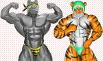 abs bada-butterfly ball biceps bodybuilder bodybuilding bulge canine clothed clothing duo feline flexing fur half-dressed male mammal muscles nipples pecs pose smile speedo stripes swimsuit tiger toned topless wolf  Rating: Questionable Score: 0 User: badabutterfly Date: June 14, 2015