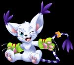 ambiguous_gender blue_eyes cat cute digimon feline fur gatomon looking_at_viewer mammal one_eye_closed open_mouth solo teeth tongue unknown_artist white_fur   Rating: Safe  Score: 7  User: DeltaFlame  Date: January 19, 2015