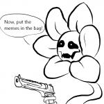 1:1 desert_eagle dialogue flora_fauna flower flowey_the_flower gun haaru handgun humor living_flower lol_comments male meme not_furry pistol plant ranged_weapon simple_background undertale video_games weapon white_background