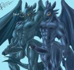 abs anthro anthrofied balls biceps big_penis blue_background blush dark-moltres dragon duo erection how_to_train_your_dragon humanoid_penis long_penis looking_at_viewer male membranous_wings muscular night_fury nipples nude partially_retracted_foreskin pecs penis precum simple_background smile standing text toothless uncut vein veiny_penis wings  Rating: Explicit Score: 15 User: Hyper_Beam Date: December 25, 2015