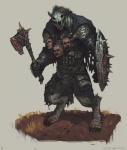 armor axe berserker blood dark_fantasy demon gnoll gore hyena male mammal melee_weapon mortal_wound shield warrior weapon wounded  Rating: Safe Score: 9 User: Rutkowski Date: March 12, 2016