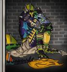 aeon18king anthro armor barefoot belt brick cement claws crest digital_media_(artwork) dinosaur kilt male reptile scalie sitting solo spikes spinosaurus tailfin teeth theropod webbed_feet yellow_eyes  Rating: Safe Score: 2 User: Aeon18King Date: July 18, 2015