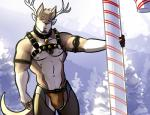 anthro antlers bell bgn bulge candy candy_cane cane cervine chaps christmas clothing costume deer digital_media_(artwork) festive harness holidays horn hybrid jock jockstrap kangaroo male mammal marsupial muscles noodles_and_beef ozzy_(character) reindeer solo straps thong underwear   Rating: Questionable  Score: 10  User: Timet  Date: December 20, 2014