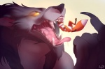 """anthro augi canine fox glowing glowing_eyes jym macro male mammal micro mouth_shot open_mouth saliva size_difference teeth tongue uvula video_games vore warcraft were werewolf wolf worgen world_of_warcraft  Rating: Questionable Score: 8 User: Jym Date: May 21, 2013"""""""