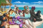 2017 anthro avian bird black_fur black_hair blue_hair breasts canine cervine day deer detailed_background digital_media_(artwork) feline female female/female fur group group_sex hair leopard male male/female male/male mammal mifa navel nipples nude open_mouth orgy outside partially_submerged penis puffin purple_fur pussy sex sky smile teeth tongue water wolfRating: ExplicitScore: 15User: MillcoreDate: October 21, 2017