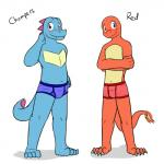 anthro anthrofied barefoot blue_eyes blue_scales blush briefs bulge charmander clothing duo fire flaming_tail fuze hi_res male navel nintendo pokémon pokémon_(species) pokémorph red_eyes red_scales scales shy simple_background teeth totodile underwear video_games white_backgroundRating: QuestionableScore: 1User: Nicklo6649Date: April 03, 2018