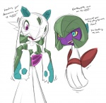 blush english_text female froslass gardevoir humanoid nintendo pokémon text unknown_artist video_games  Rating: Safe Score: 6 User: Juni221 Date: August 20, 2013""