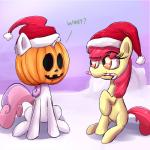 apple_bloom_(mlp) candy candy_cane christmas cub duo english_text equine female feral food friendship_is_magic fur hair hat holidays horn jack_o'_lantern long_hair mammal multicolored_hair my_little_pony open_mouth pumpkin red_hair santa_hat senxshine sweetie_belle_(mlp) text two_tone_hair unicorn white_fur young  Rating: Safe Score: 6 User: Deatron Date: December 20, 2013